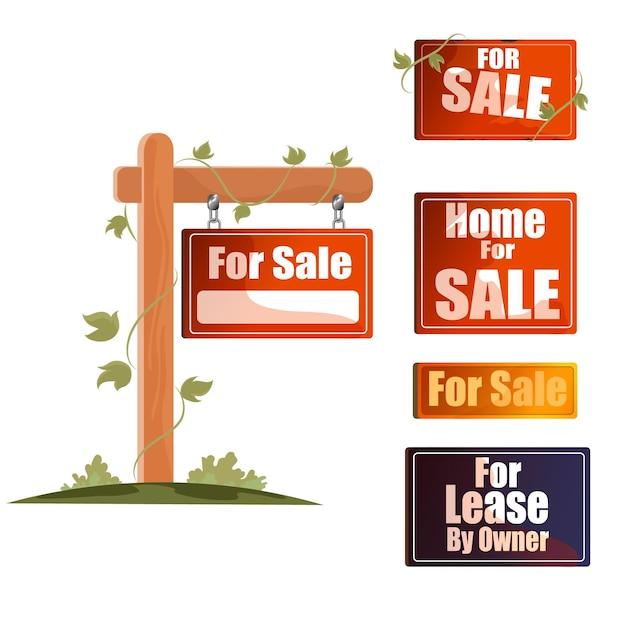 Sammlung von verkaufsimmobilienschildern Kostenlosen Vektoren