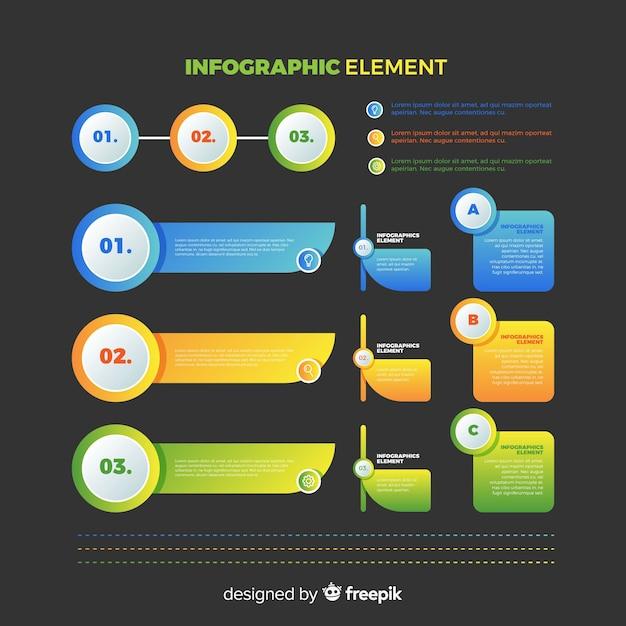 Sammlung von verlaufsinfografiken Kostenlosen Vektoren