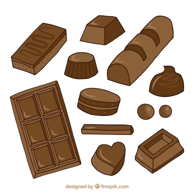 Sammlung von verschiedenen arten von schokolade Kostenlosen Vektoren