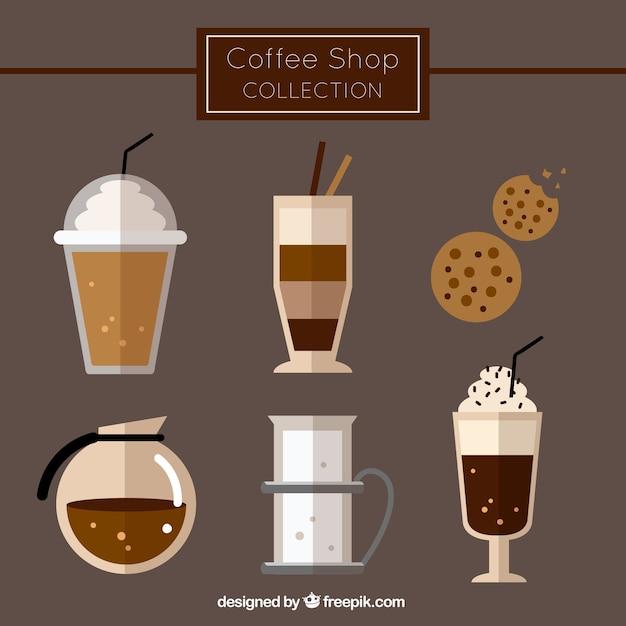 Sammlung von verschiedenen kaffeesorten und gebäck Kostenlosen Vektoren