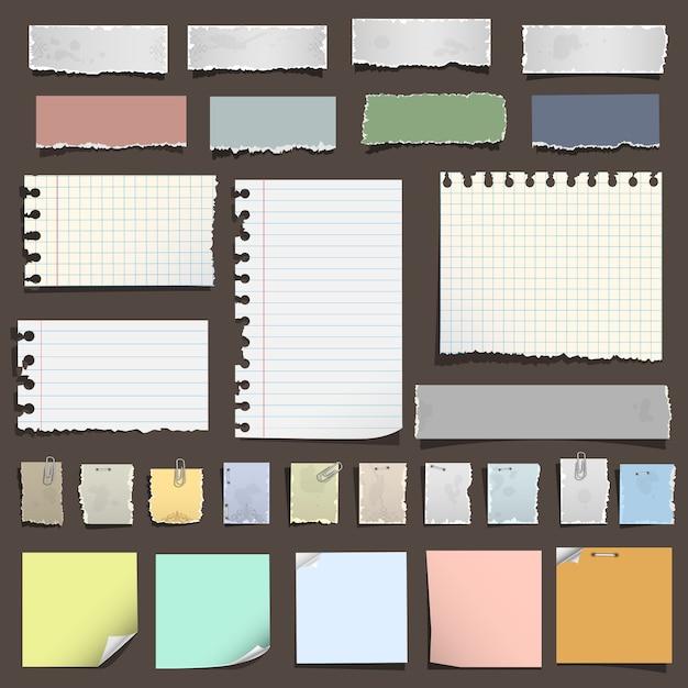 Sammlung von verschiedenen notizen papier Premium Vektoren