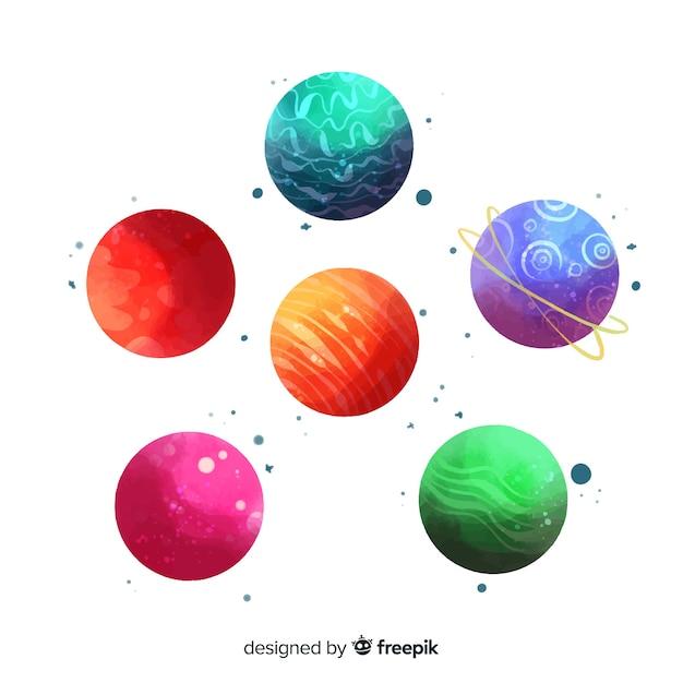 Sammlung von verschiedenen planeten in aquarell Kostenlosen Vektoren