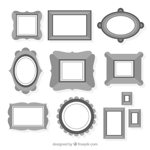 sammlung von verschiedenen rahmen in schwarz und wei download der kostenlosen vektor. Black Bedroom Furniture Sets. Home Design Ideas