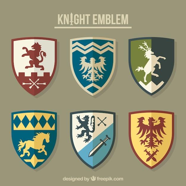 Sammlung von verschiedenen ritter embleme Kostenlosen Vektoren