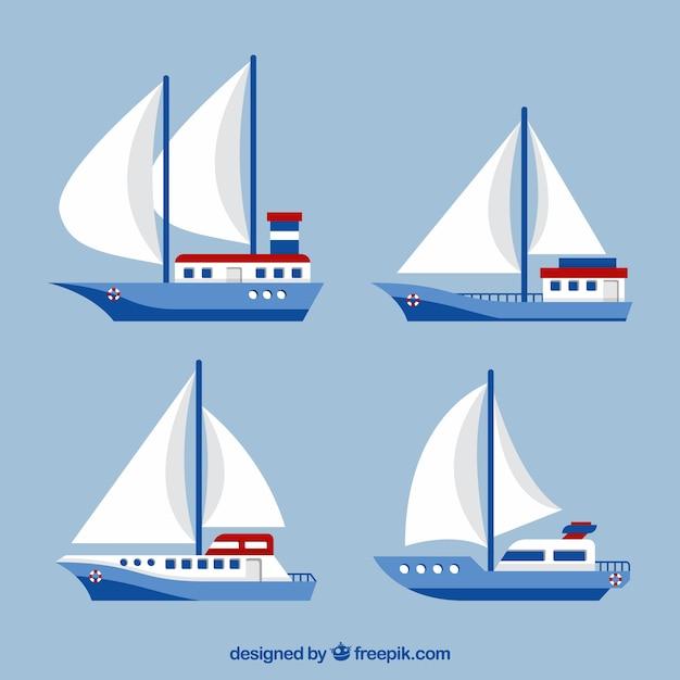 Sammlung von vier segelbooten in flachem design Kostenlosen Vektoren