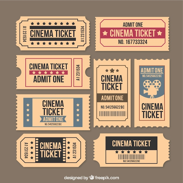 Sammlung von vintage-film-ticket Premium Vektoren