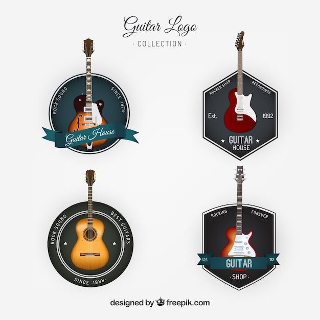 Sammlung von vintage-stil gitarren logos Kostenlosen Vektoren