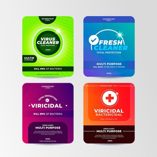 Sammlung von viriziden und bakteriziden reinigeretiketten Premium Vektoren