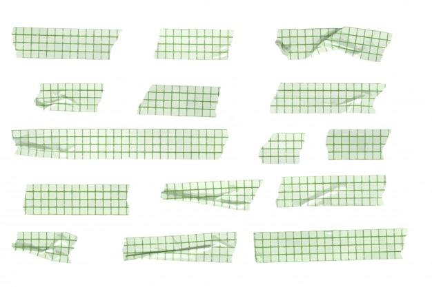 Sammlung von washi tape stripes mit vektorgittermuster, zerknitterte und gefaltete washi tapes Premium Vektoren