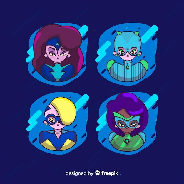 Sammlung von weiblichen superhelden zeichen Kostenlosen Vektoren