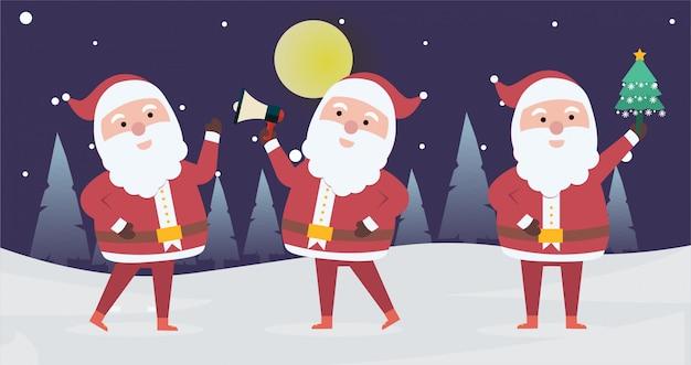 Sammlung von weihnachten santa claus. reihe von lustigen comic-figuren Premium Vektoren
