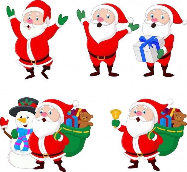 Sammlung von weihnachten santa claus Premium Vektoren