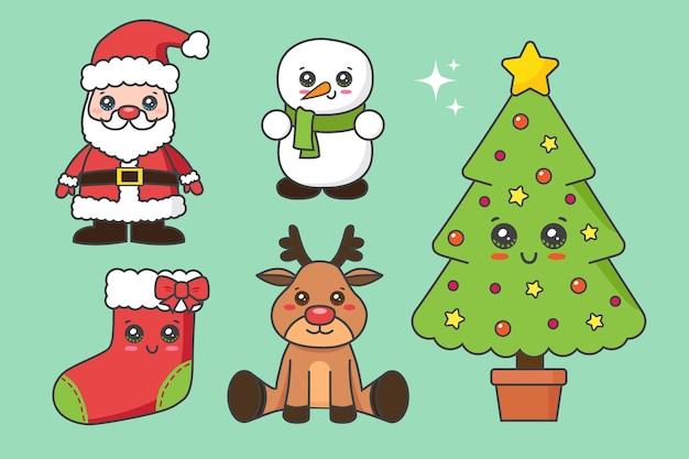 Sammlung von weihnachtselement isoliert auf grün Premium Vektoren