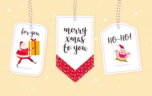 Sammlung von weihnachtsgeschenkanhänger isoliert. Premium Vektoren