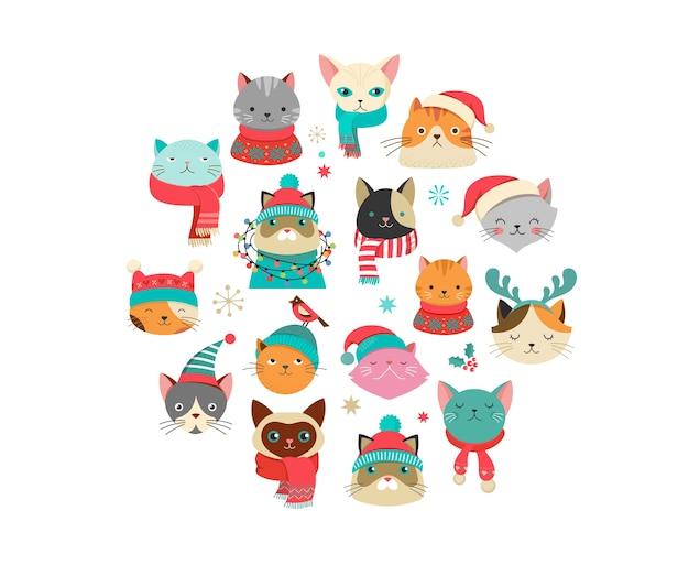 Sammlung von weihnachtskatzen, frohe weihnachten illustrationen von niedlichen katzen mit accessoires wie strickmützen, pullovern, schals Premium Vektoren