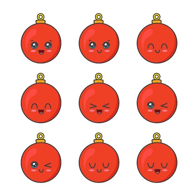 Sammlung von weihnachtskugeln isoliert auf weiß Premium Vektoren