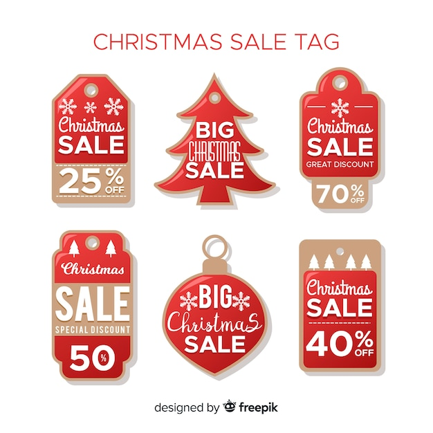 Sammlung von weihnachtsverkaufsmarken Kostenlosen Vektoren