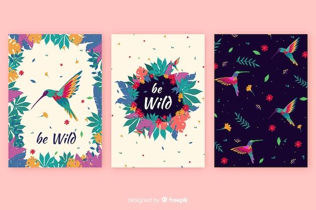 Sammlung von wildtierkarten Kostenlosen Vektoren