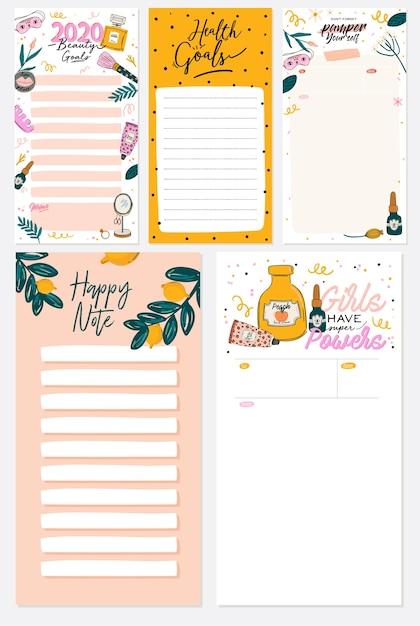 Sammlung von wochen- oder tagesplanern, notizpapier, aufgabenliste, aufklebervorlagen dekoriert Premium Vektoren