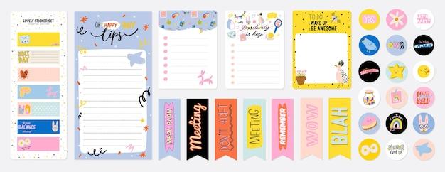 Sammlung von wochen- oder tagesplanern, notizpapier, aufgabenliste, aufklebervorlagen, die von niedlichen kinderillustrationen und inspirierendem zitat verziert werden. schulleiter und organisator. eben Premium Vektoren