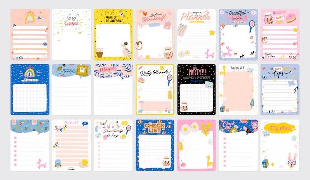 Sammlung von wochen- oder tagesplanern, notizpapier, aufgabenliste, aufklebervorlagen, die von niedlichen kinderillustrationen und inspirierendem zitat verziert werden Premium Vektoren