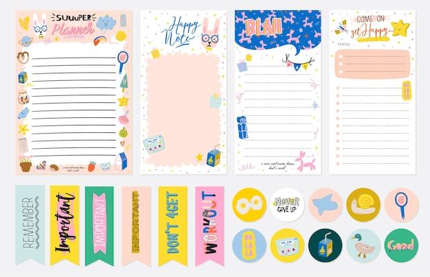 Sammlung von wochen- oder tagesplanern, notizpapier, aufgabenlisten und aufklebervorlagen Premium Vektoren