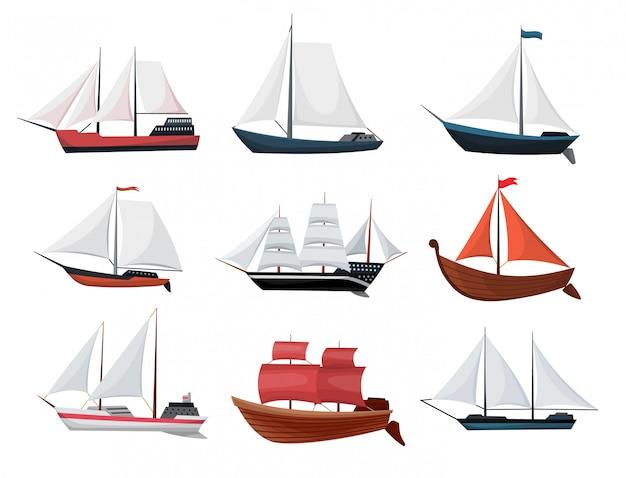 Sammlung von yachten, segelbooten oder segelschiffen. ikonenentwurf der kreuzfahrtreisefirma Premium Vektoren