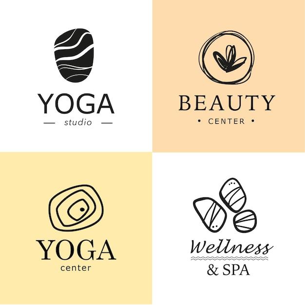 Sammlung von yoga, schönheit und spa-symbolen in hellen farben isoliert. Premium Vektoren