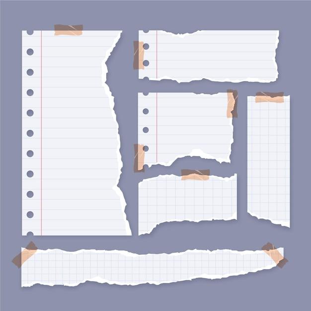Sammlung von zerrissenen papieren mit klebeband Premium Vektoren