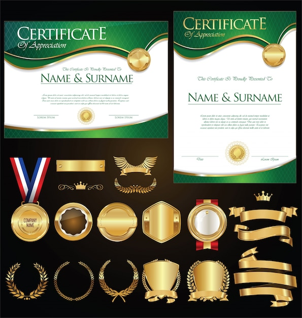 Sammlung von zertifikatsabzeichen beschriftet schilde und lorbeer Premium Vektoren