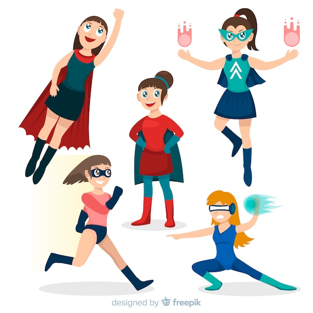 Sammlung weibliche superheldcharaktere in der karikaturart Kostenlosen Vektoren