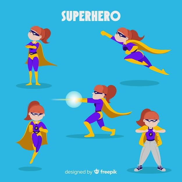 Sammlung weibliche superheldcharaktere in der komischen art Kostenlosen Vektoren