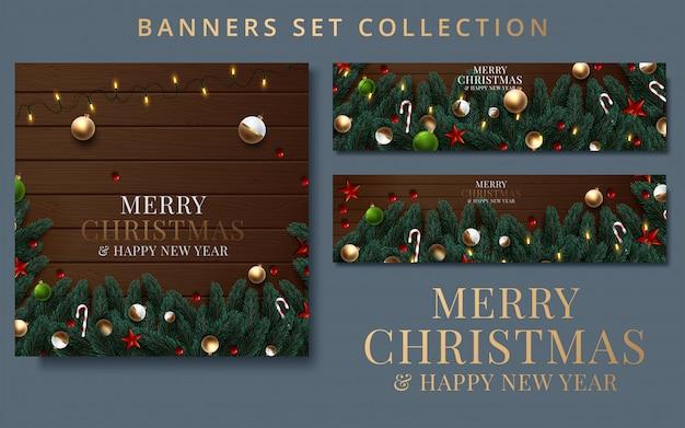 Sammlung weihnachten und neujahr mit grenze oder girlande von weihnachtsbaumasten Premium Vektoren