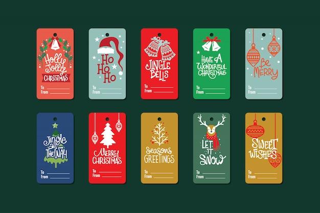 Sammlung weihnachtsgeschenkumbauten mit zitat Premium Vektoren