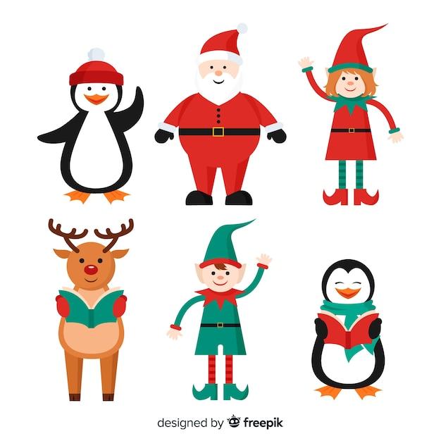 Sammlung weihnachtszeichen in der flachen art Kostenlosen Vektoren