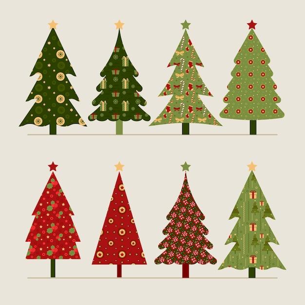 Sammlung weinleseweihnachtsbäume Kostenlosen Vektoren