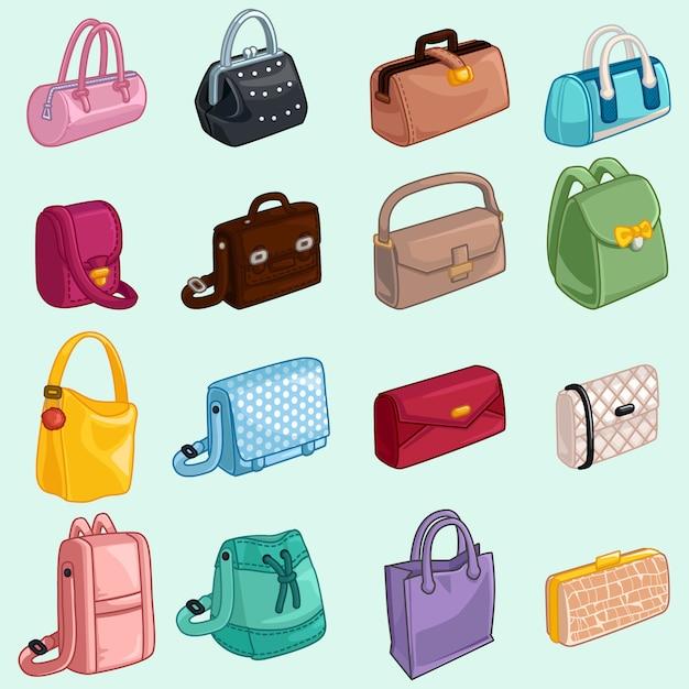 Sammlung womans taschen-ikone Premium Vektoren