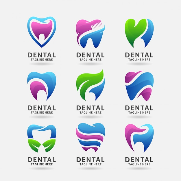 Sammlung zahnmedizinisches logodesign Premium Vektoren
