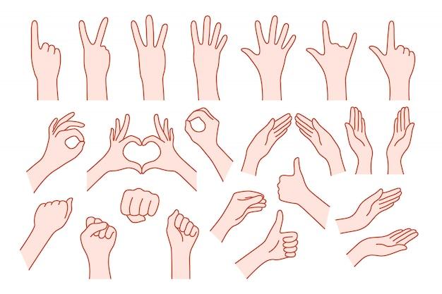 Sammlungshandform mögen geste. konzept der stop-hilfe oder rock-symbol v, rechts oder links, animierte nummer eins, zwei, drei, vier, fünf, null Premium Vektoren