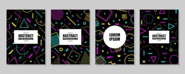Sammlungskarte mit geometrischen formen Premium Vektoren
