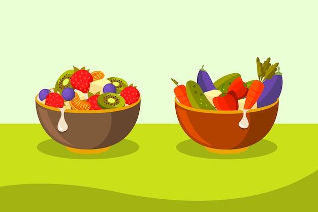 Sammlungskonzept für anzüge und salatschüsseln Kostenlosen Vektoren