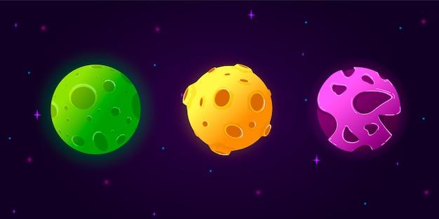 Sammlungssatz cartoon planeten. Premium Vektoren