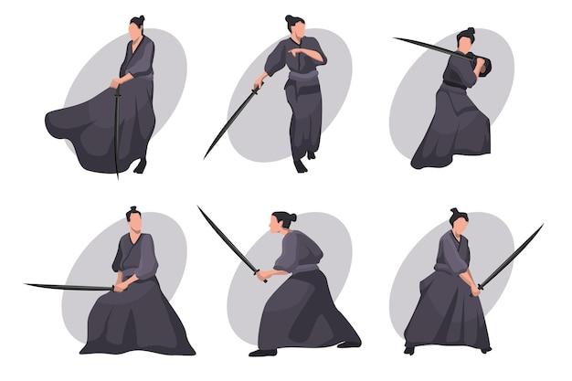 Samurai cartoon zeichensatz. japanischer ritter, krieger im schwarzen kimono mit katana-schwert Kostenlosen Vektoren