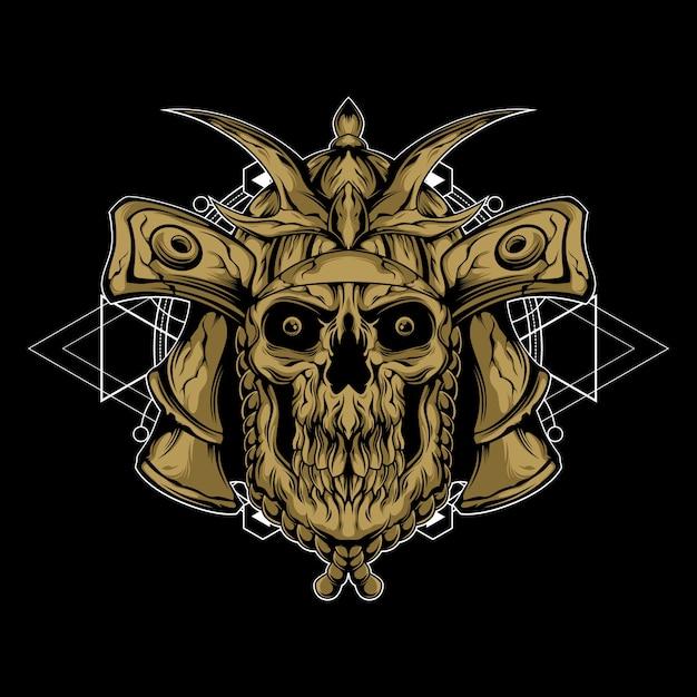 Samurai des todes mit heiliger geometrie Premium Vektoren