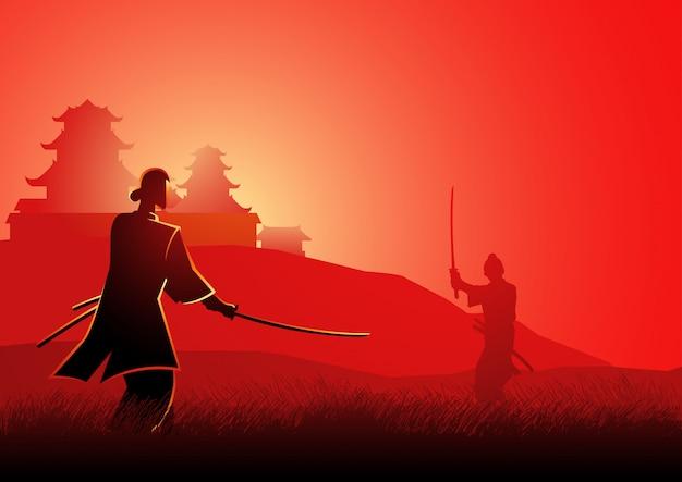 Samurai-duell Premium Vektoren