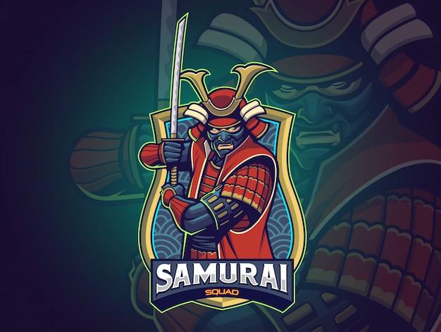 Samurai esports logo für ihr team Premium Vektoren