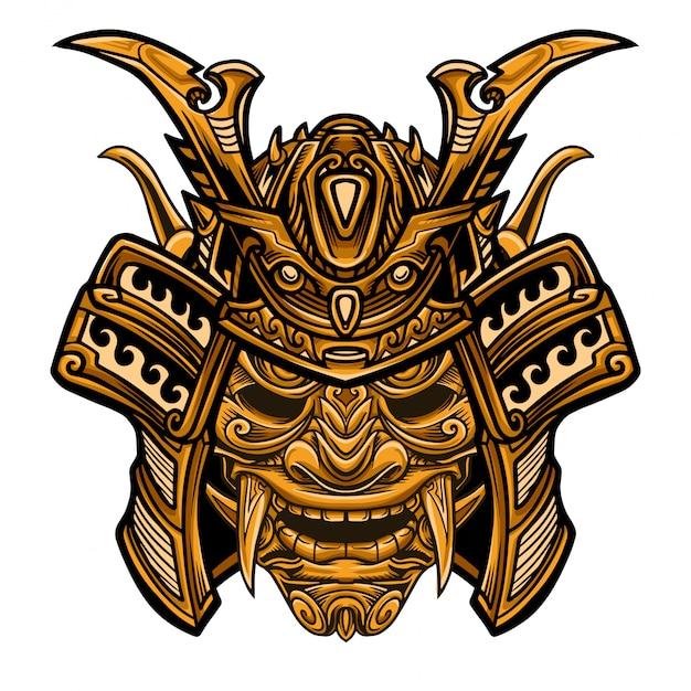 Samurai-goldkrieger-masken-vektor Premium Vektoren