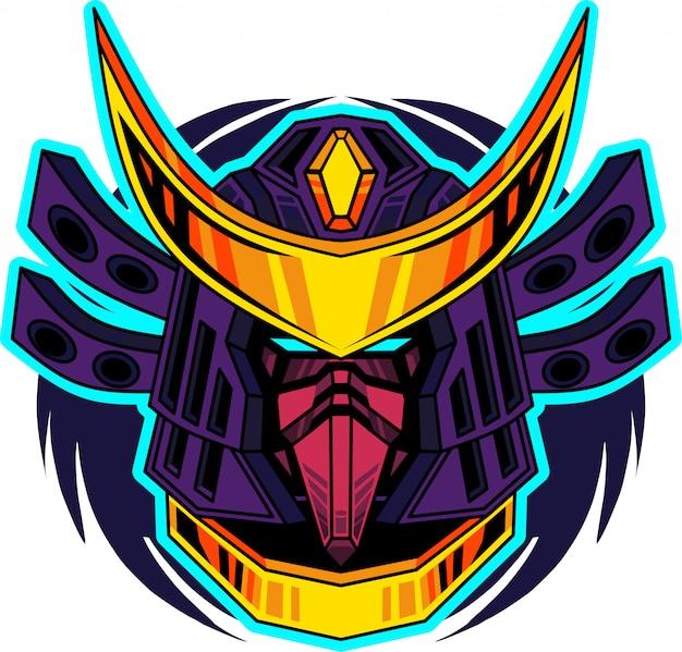 Samurai-hauptmaskottchen-logo Premium Vektoren
