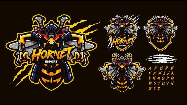 Samurai hornisse premium maskottchen logo vorlage Premium Vektoren