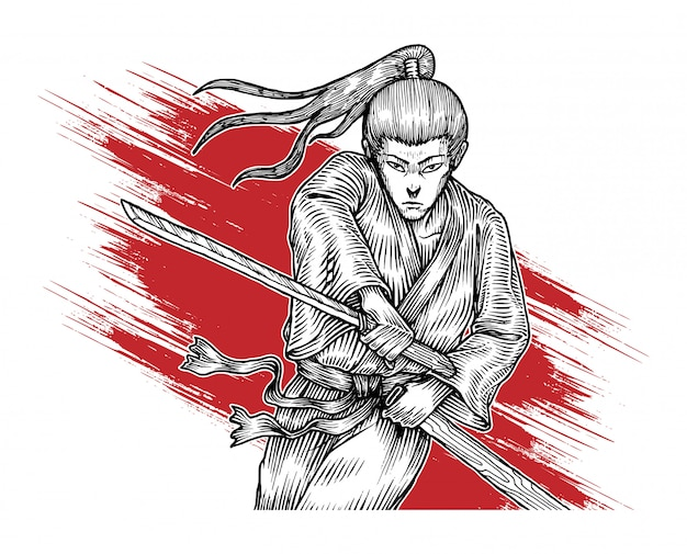 Samurai in aktion, hand gezeichnete illustration Premium Vektoren